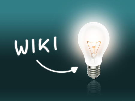 hint: Wiki Bulb Lamp Energy Light turquoise Background Idea Stock Photo