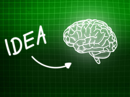 creativ: idea brain background knowledge science blackboard turquoise light Stock Photo