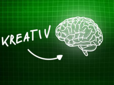 creativ: Kreativ brain background knowledge science blackboard turquoise light Stock Photo