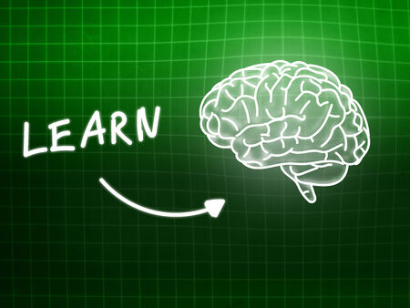 creativ: learn brain background knowledge science blackboard turquoise light Stock Photo