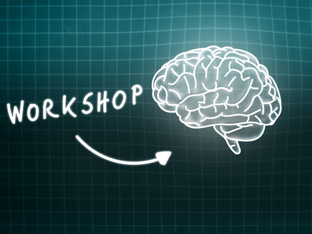 creativ: workshop brain background knowledge science blackboard gray light
