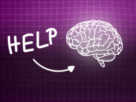 creativ: Help brain background knowledge science blackboard pink light Stock Photo
