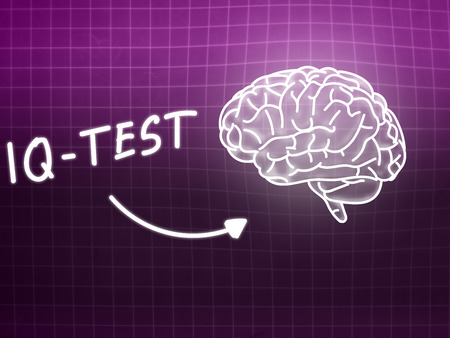 IQ Test  brain background knowledge science blackboard pink light 版權商用圖片
