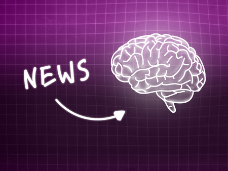 creativ: News brain background knowledge science blackboard pink light