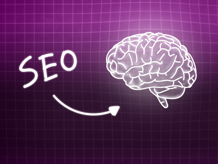 creativ: SEO brain background knowledge science blackboard pink light
