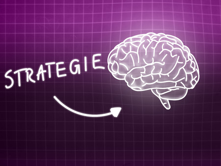 creativ: Strategie brain background knowledge science blackboard pink light