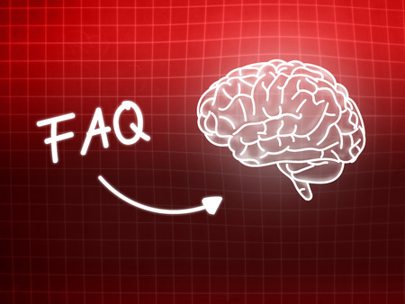 creativ: FAQ brain background knowledge science blackboard red light