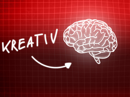 creativ: Kreativ brain background knowledge science blackboard red light