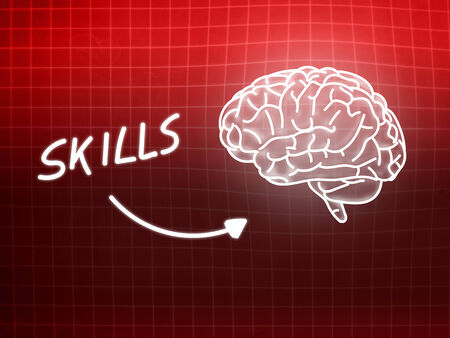 creativ: Energy brain background knowledge science blackboard red light Stock Photo