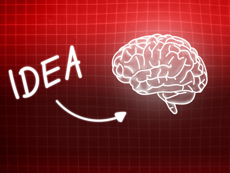 creativ: idea brain background knowledge science blackboard red light Stock Photo