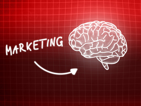 creativ: Marketing brain background knowledge science blackboard red light