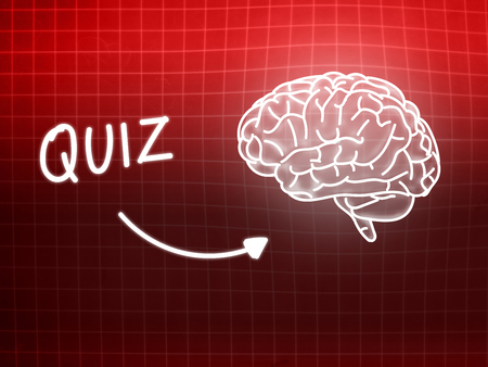 creativ: Quiz brain background knowledge science blackboard red light Stock Photo