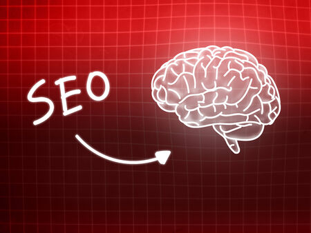 creativ: SEO brain background knowledge science blackboard red light