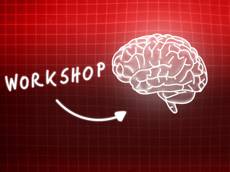 creativ: workshop brain background knowledge science blackboard red light Stock Photo