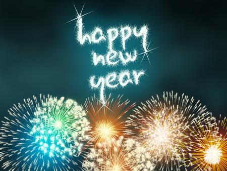 impressive: colorful impressive fireworks happy new year celebration
