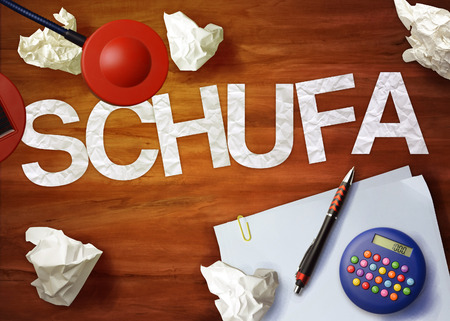 schufa desktop memo calculator office think organize