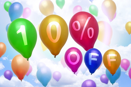 10 percent off discount balloon colorful balloons party