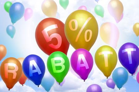 Deutsch 5 Prozent Rabatt Rabatt Ballons bunten Luftballons Party Standard-Bild - 34786670