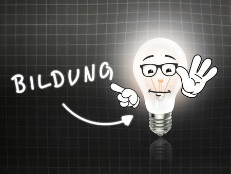 hint: Bildung Bulb Lamp Energy Light blackboard Background Idea Stock Photo