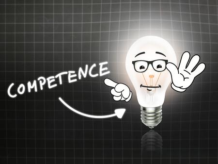 competence: Competence Bulb Lamp Energy Light blackboard Background Idea