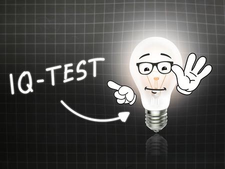 iq: IQ Test Bulb Lamp Energy Light blackboard Background Idea Stock Photo