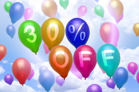 thirty percent off: 30 percent off discount balloon colorful balloons party