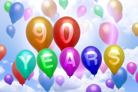 90: 90 years happy birthday balloon colorful balloons party