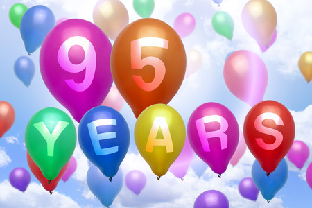 95: 95 years happy birthday balloon colorful balloons party Stock Photo
