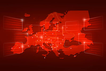 Europe Map World map News Communication logistics red