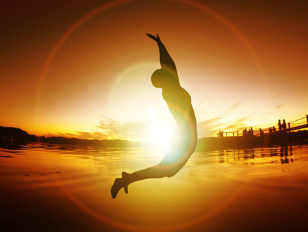 Jumping Woman Silhouette Freedom Sunset Energy Life Free  orange