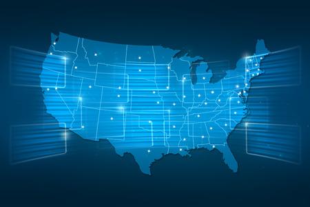 USA Map World map News Communication logistics blue