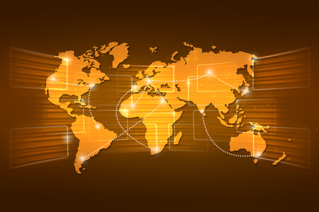geography: World map geography world order background shipping global orange yellow