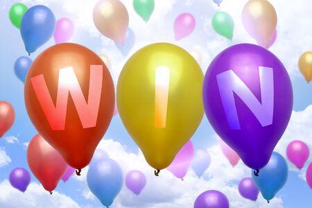 Win ballon kleurrijke ballonnen party Stockfoto