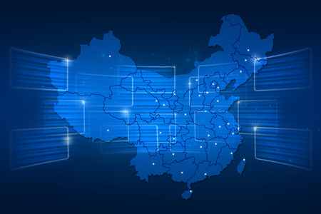 China Map World map News Communication delivery blue
