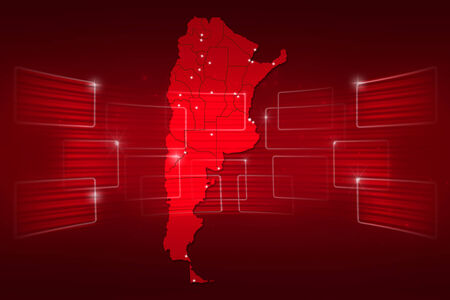 argentina map: argentina Map World map News Communication delivery red Stock Photo