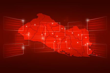 mapa de el salvador: Mapa El Salvador Mapa del Mundo Noticias Comunicaci�n rojo entrega Foto de archivo
