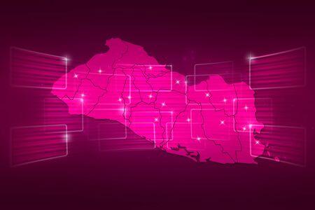 mapa de el salvador: Mapa El Salvador Mapa del Mundo Noticias Comunicaci�n rosa entrega Foto de archivo