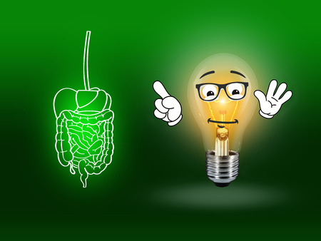 heartburn: stomach intestinal digestive pain graphic illustration green Stock Photo