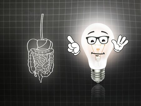 heartburn: stomach intestinal digestive pain graphic illustration blackboard