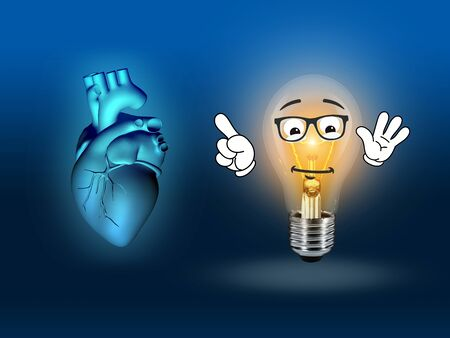 pacemaker: heart disease 3d anatomy illustration bulb blue Stock Photo