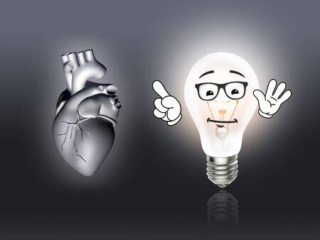 heart disease: heart disease 3d anatomy illustration bulb gray Stock Photo