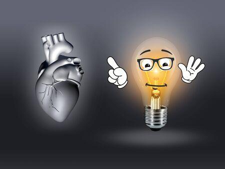 gray bulb: heart disease 3d anatomy illustration bulb gray Stock Photo