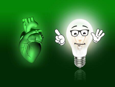 pacemaker: heart disease 3d anatomy illustration bulb green