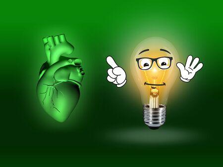 heart disease: heart disease 3d anatomy illustration bulb green