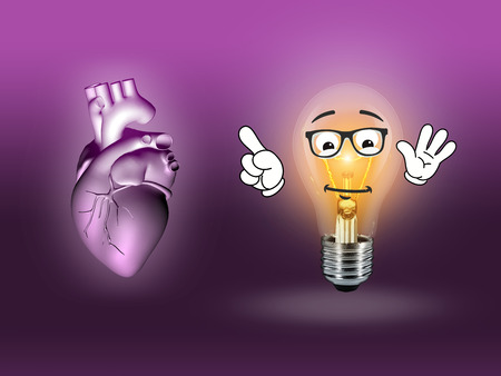 pacemaker: heart disease 3d anatomy illustration bulb pink Stock Photo