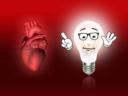 heart disease: heart disease 3d anatomy illustration bulb red