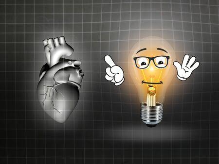 heart disease: heart disease 3d anatomy illustration bulb grid