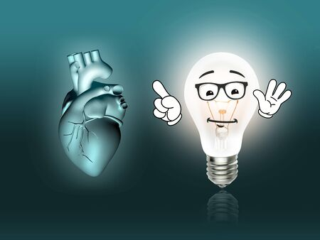 heart disease: heart disease 3d anatomy illustration bulb turquoise Stock Photo