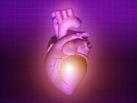 pacemaker: heart disease 3d anatomy illustration health purple pink