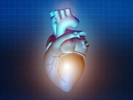 pacemaker: heart disease 3d anatomy illustration health blue